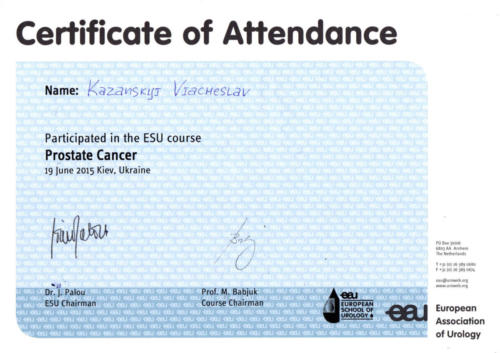 Certificate - Europen Association of Urology